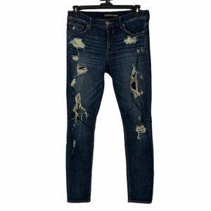 Express Womens Destroyed Denim Skinny Jeans Sz 10